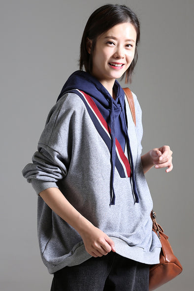 Loose Quilted Hoodie Cotton Fleece Women Fall Tops R3803