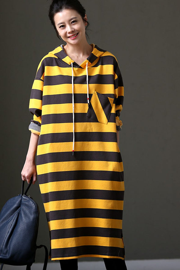 Cotton Striped Loose Hoodie Long Fleece For Women Q1107 - FantasyLinen
