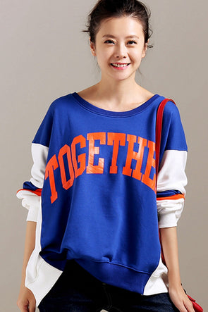 Loose Quilted Color Letter Print Cotton Fleece For Women R2307