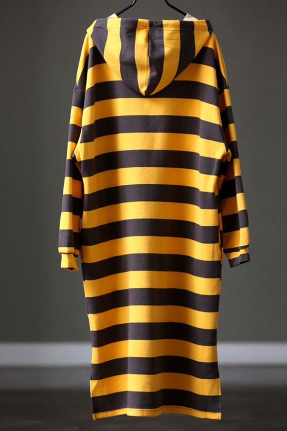 Cotton Striped Loose Hoodie Long Fleece For Women Q1107