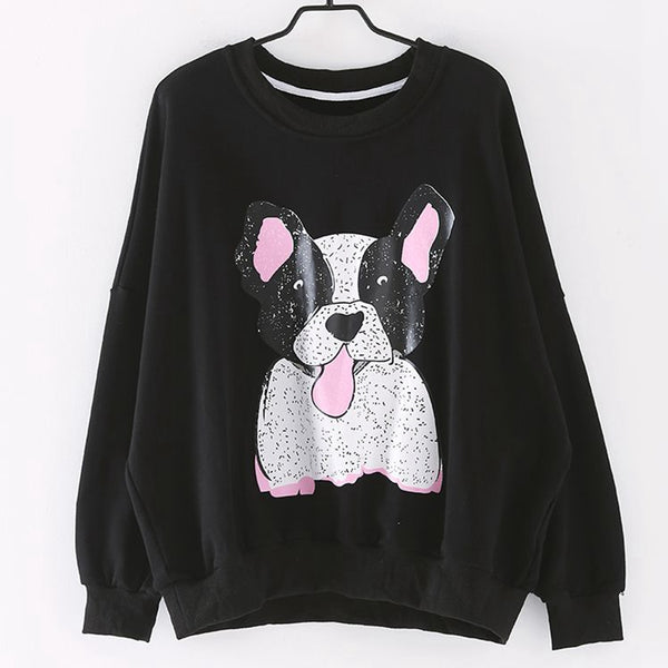 Cute Carton Print Loose Fleece Women Casual Tops R1910