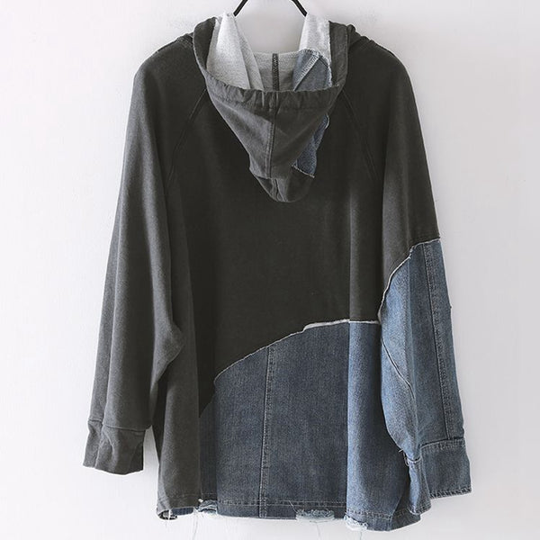 Vintage Quilted Denim Fall Fleece For Women R1103