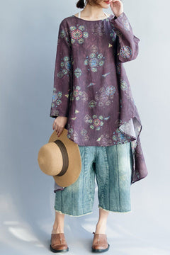 FantasyLinen Floral Linen Casual Shirt, Vintage Printing Loose Shirt in Purple Q3025