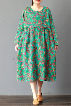 FantasyLinen Loose Linen Floral Dress, Casual Green Dress For Spring Q3016