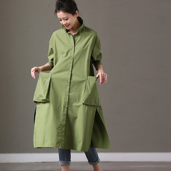 Big Pocket Green Casual Loose Long Cotton Shirt Dresses Women Tops C2079 - FantasyLinen