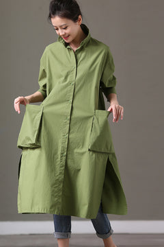 Big Pocket Green Casual Loose Long Cotton Shirt Dresses Women Tops C2079