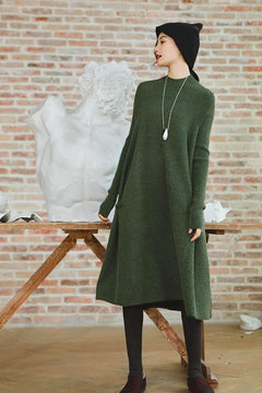 Thick Wool Maxi Green Sweater Dresses For Women Clothes,Winter Party Dress