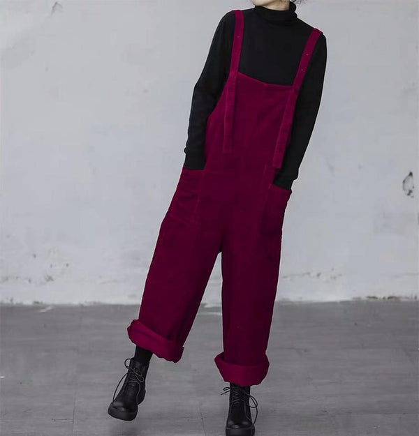Women Purple Leisure Corduroy Overalls Dungarees Winter Fall Wide Leg Adjustable Jumpsuits Cotton Overall Pants Loose Bib Pants