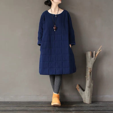 Simple Cotton Dress Loose Sleeve Warm Winter Coat Women Clothes