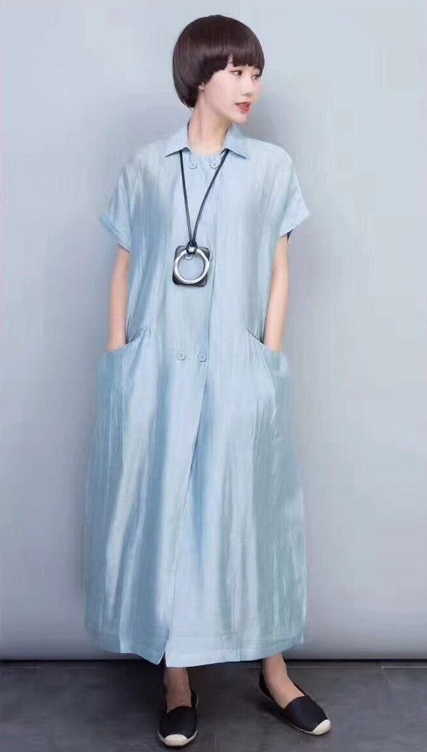 Green Silk Linen Long Dress Wind Coat Q3102