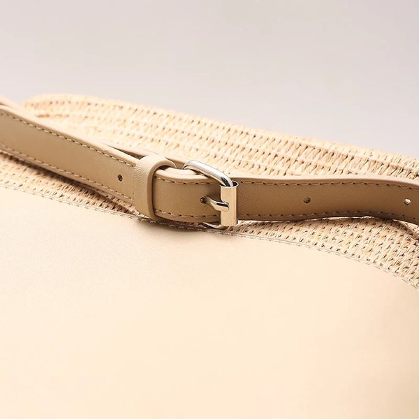 Korean Style Leather and Straw Plaited Article Leisure Handbags D8958