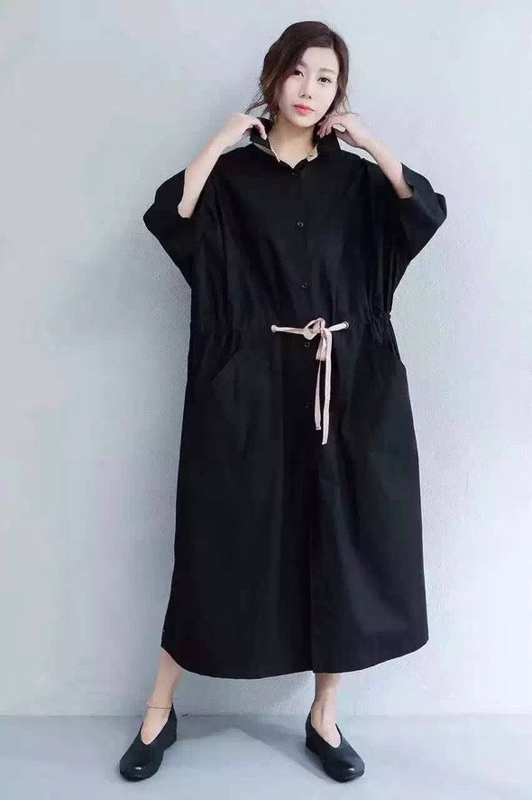 Black Casual Big Size Coat Women Clothes Z1842 - FantasyLinen