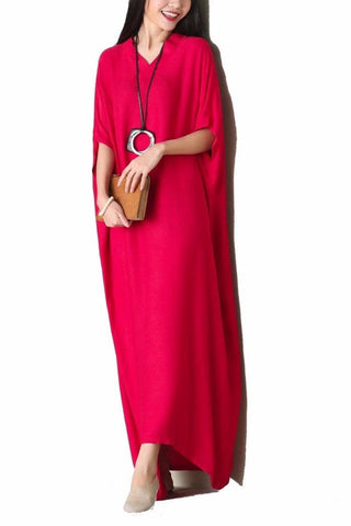 Red/blue/Pink Cotton Bat Sleeves Casual Maxi Dresses