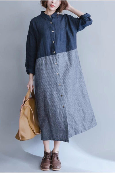 Two blue color blocks maxi shirt dress