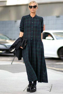 FantasyLinen Plus Size Plaid Dress, Green Fashion Loose Dress  Q4025