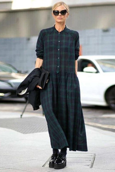 FantasyLinen Plus Size Plaid Dress, Green Fashion Loose Dress  Q4025 - FantasyLinen
