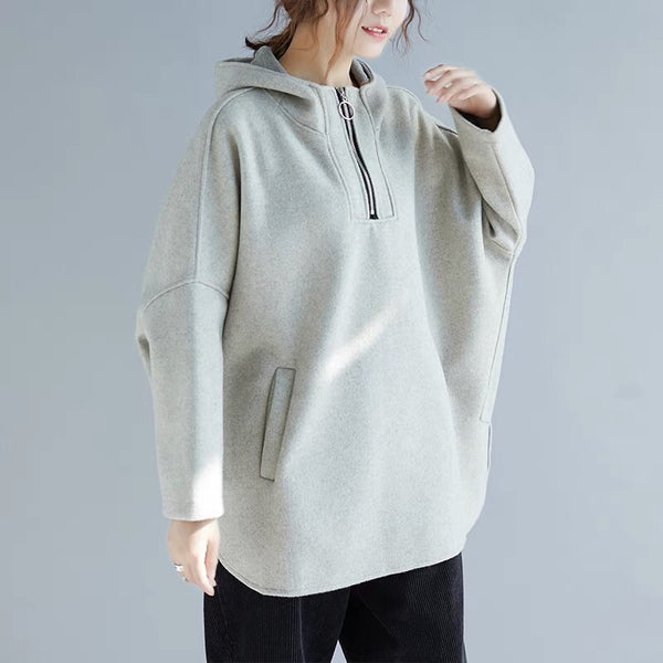 Casual Loose Cotton Warm Fleece Women's Winter Tops F6112