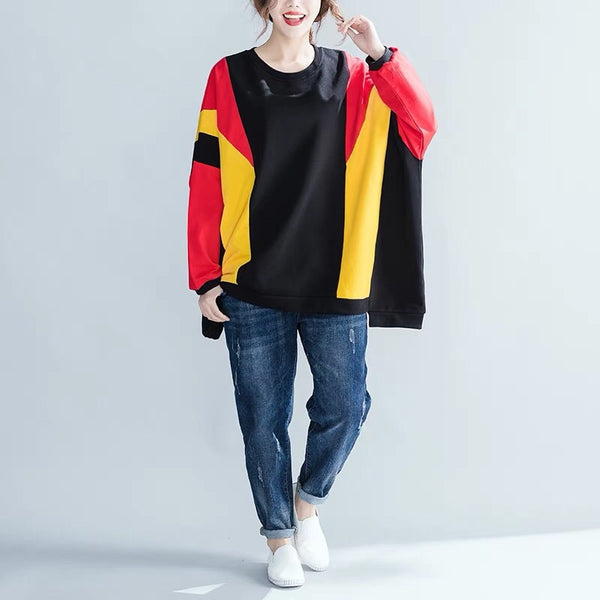 Big Size Casual Loose Cotton Fleece Women's Winter Tops F6111