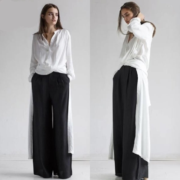 White and Black Cotton Fashion Long Shirt for Women S4042