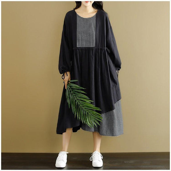 Black Joining Together Casual Dress Women Clothing - FantasyLinen