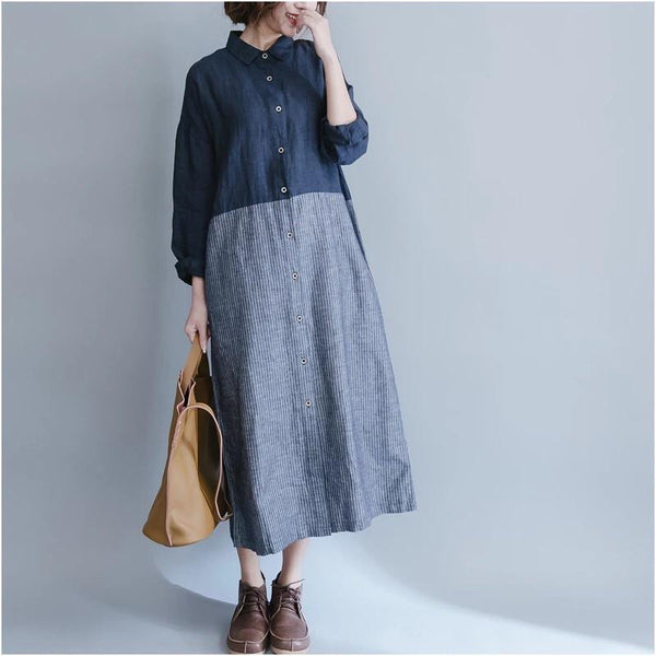 Long Sleeve Shirts For Women Blocks Maxi Shirt Dress - FantasyLinen