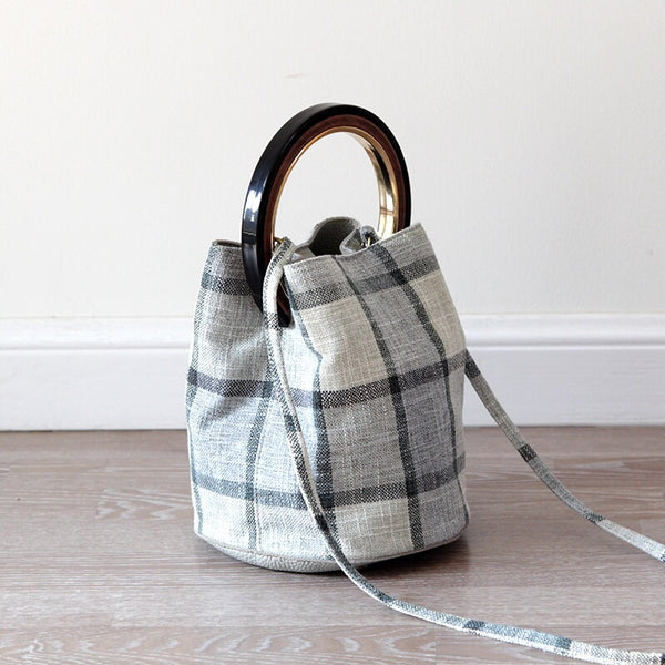 Handmade Plaid Cotton Linen Bags For Women,Casual Handbags,Summer Stylish Bucket Bag