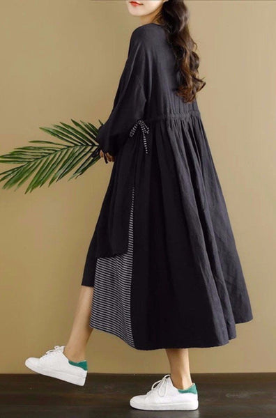Black Joining Together Casual Dress Women Clothing
