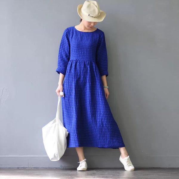 Silk Linen Loose Spring Causel Long Dress Oversize Women Clothes Q2661
