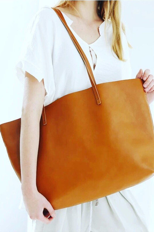 Brown Leather Tote Bag,Handbags,Women Bag - FantasyLinen