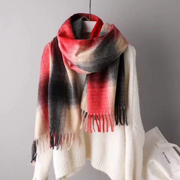 Plaid Tassels Warm Long Scarf Women Accessories  Christmas gift Thanksgiving gift