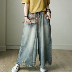 Blue Torn Edges Cowboy Boken Hole Jeans Wide-legged Pants