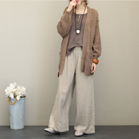 Casual Button Down Knitwear Women Loose Coat For Fall Q1538