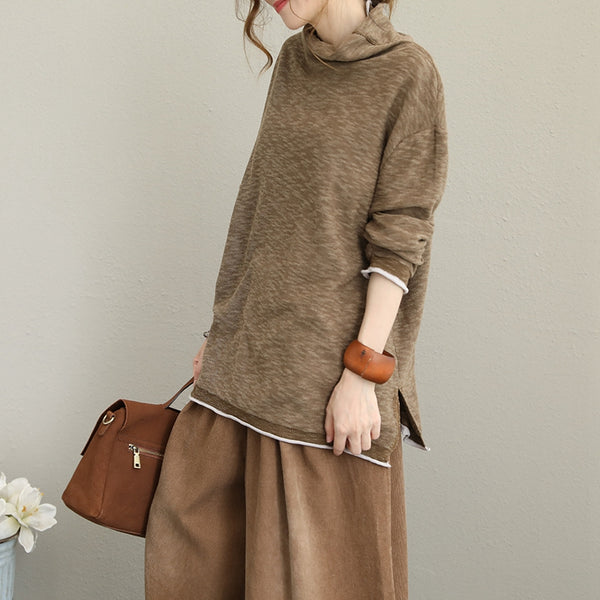 Casual High Neck Cotton Knitwear Women Tops For Autumn Q1619