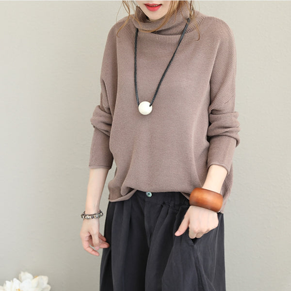 Korea Style High Neck Knitwear Women Tops For Autumn Q1367