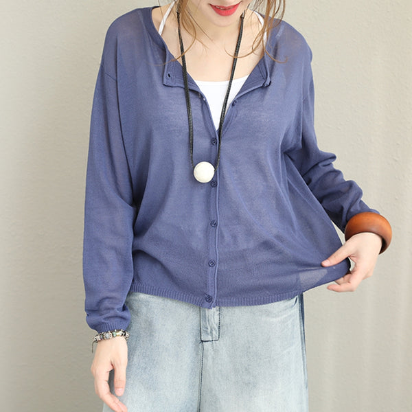 Casual Loose Pure Color Knitwear Women Fall Blouse Q1368