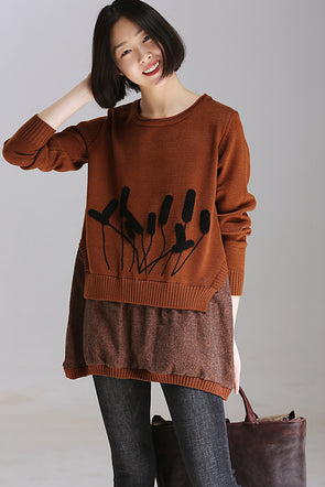 Cute Quilted Coffee Knitwear Women Casual Tops Z1856