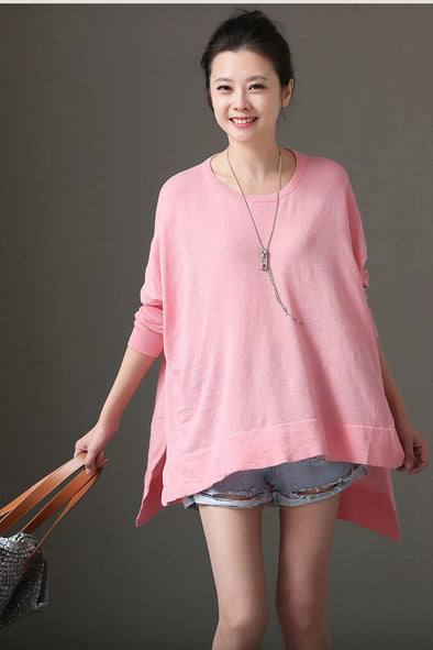 Women Loose Pink Thin Knitwear Cute Sweater W1641 - FantasyLinen