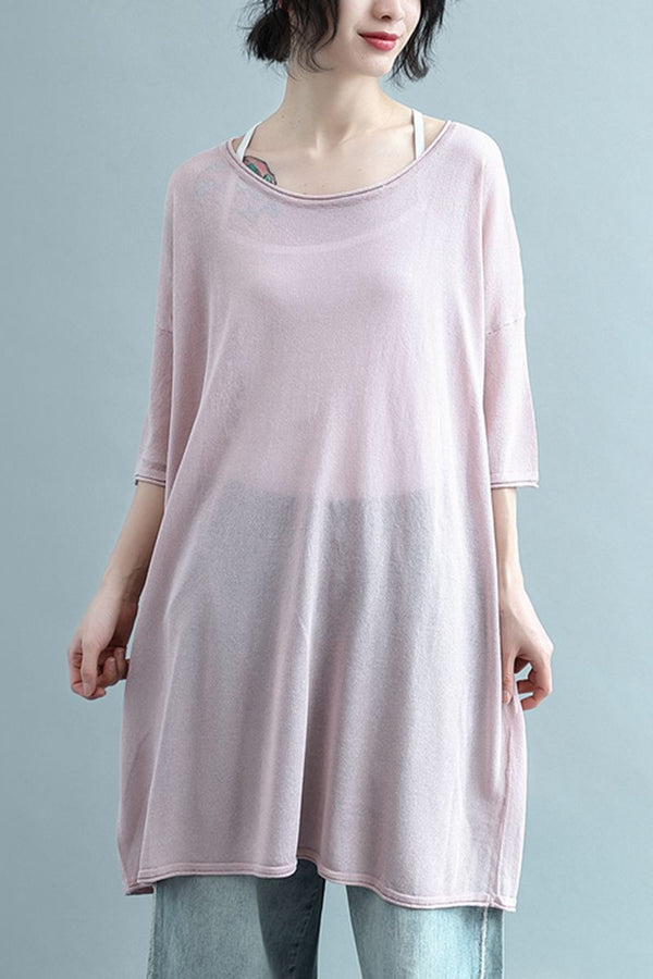 Women Summer Round Neck Cool Linen Plus Size Knitwear W2341