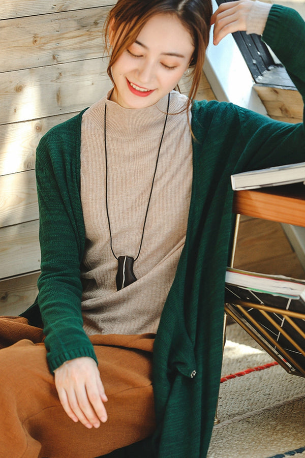 Simple Pure Color Fitted Knitwear Women Fall Tops Z8935