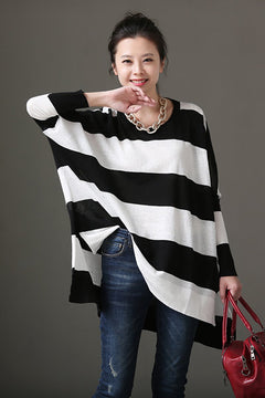 Spring Summer Women White And Black Striped Thin Knitwear Z5876