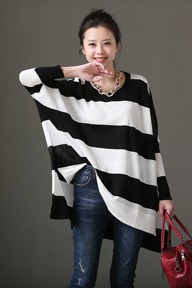Spring Summer Women White And Black Striped Thin Knitwear Z5876 - FantasyLinen