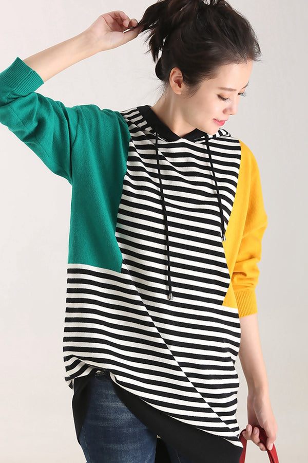 Casual Hoodie Striped Knitwear Women Fall Tops Z8960
