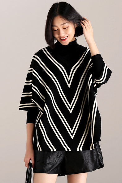 Fashion Casual Striped Knitwear Women Loose Tops For Fall Z8031