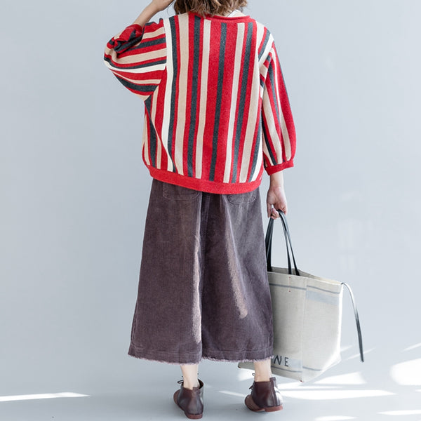Casual Striped Loose Knitwear Women Cotton Tops For Fall Z2490