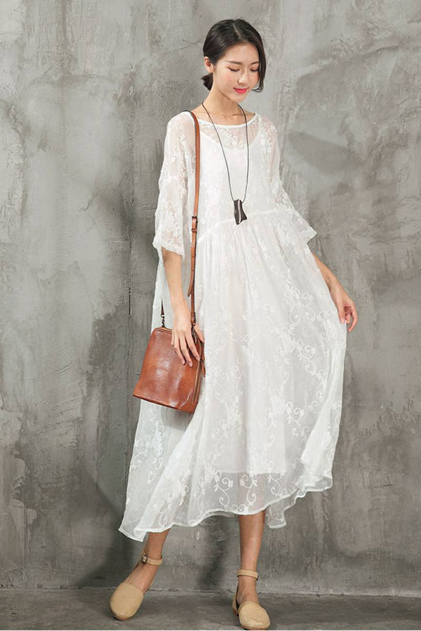 Lace Plus Size Women Dresses Maxi Clothes in White Q9881 - FantasyLinen