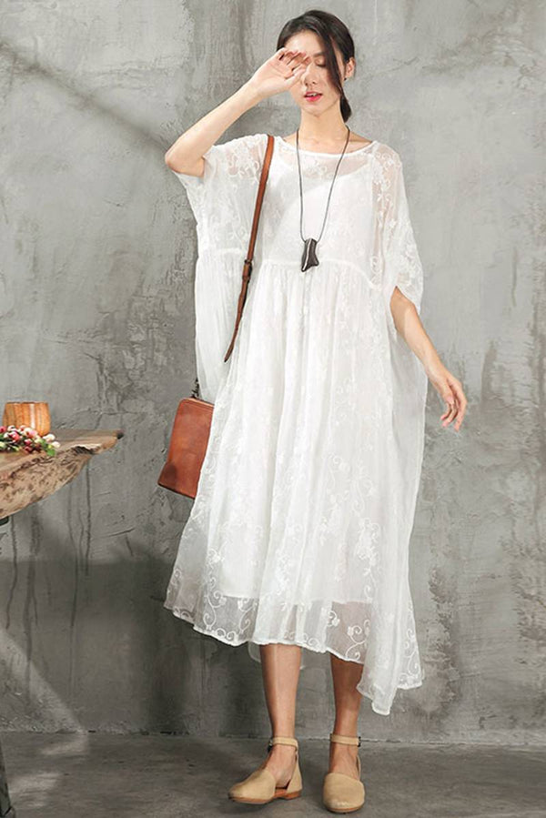 Lace Plus Size Women Dresses Maxi Clothes in Gray Q9881 - FantasyLinen
