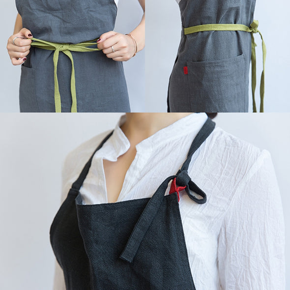 Linen APRON Gift Chef Works Handmade Apron French Style Cross Front With Pockets