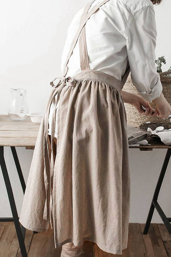 Cotton Linen Cross Back Apron Gift Chef Works Handmade Apron A1303