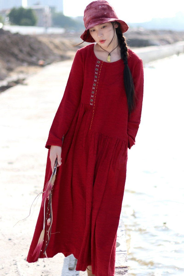 Red Embroidered Linen Dresses Long Sleeve Linen Caftans Gown For Fall/Winter - FantasyLinen