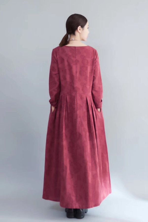 Flower Long Sleeve Casual Maxi Dresses Women Clothes in Red 8007 - FantasyLinen